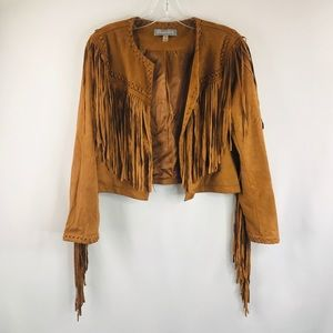Bagatelle Cognac fringe crop jacket SZ:s NWT